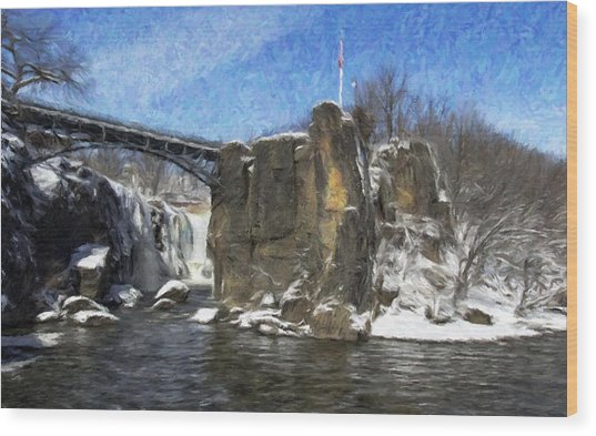 Great Falls Painted Wood Print