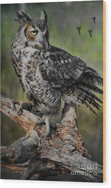 Great Horned Owl On Branch Wood Print