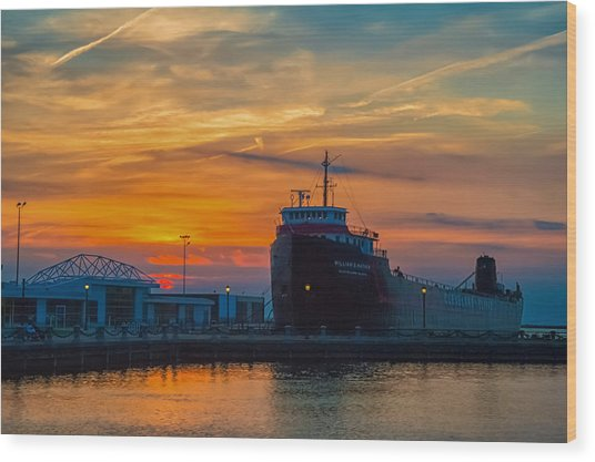 Great Lakes Freighter At Sunset Wood Print