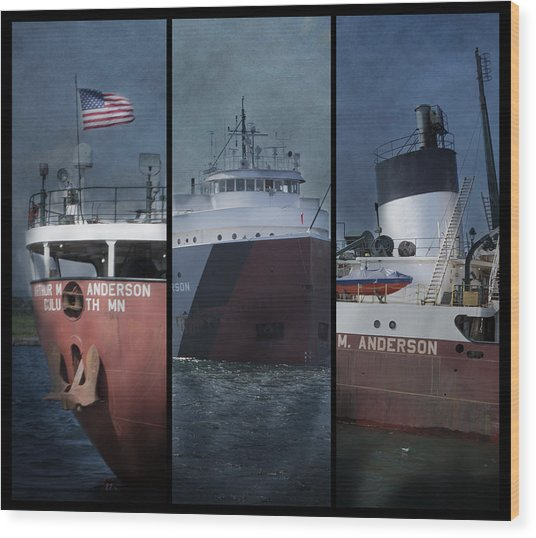 Great Lakes Freighter Triptych Arthur M Anderson Wood Print