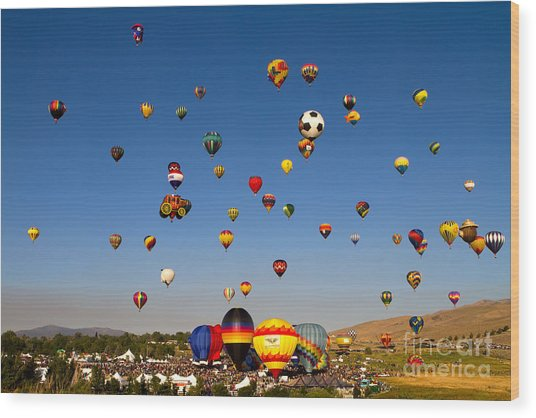 Great Reno Balloon Race Wood Print