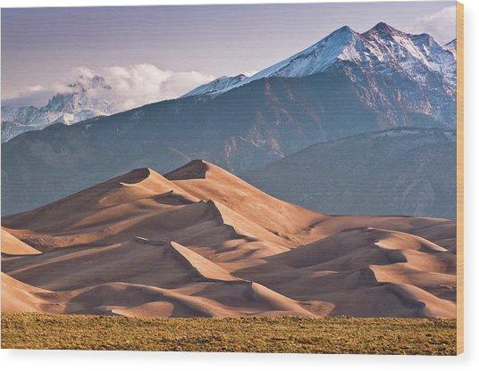 Great Sand Dunes Nat Park, Sangre De Wood Print by Witold Skrypczak