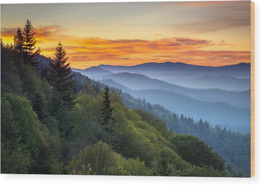 Great Smoky Mountains National Park - Morning Haze At Oconaluftee Wood Print
