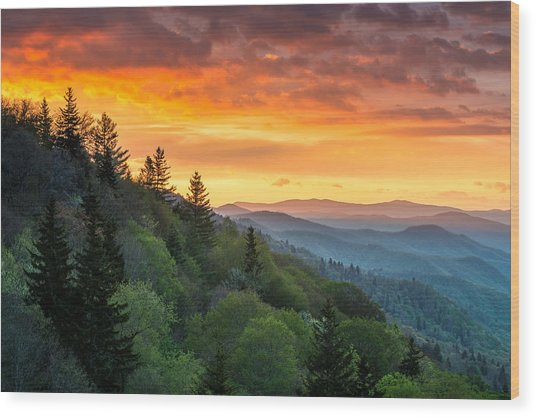 Great Smoky Mountains North Carolina Scenic Landscape Cherokee Rising Wood Print