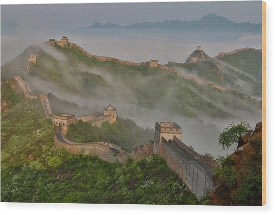 Great Wall Of China On A Foggy Morning Wood Print by Darrell Gulin