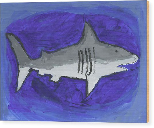Great White In The Deep Blue Sea Wood Print by Fred Hanna