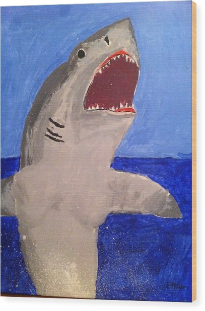 Great White Shark Breaching Wood Print by Fred Hanna
