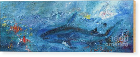 Great White Shark Coral Reef Ocean Life Wood Print
