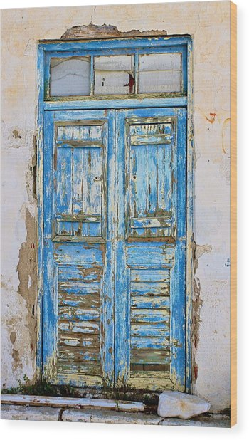 Greek Door Wood Print