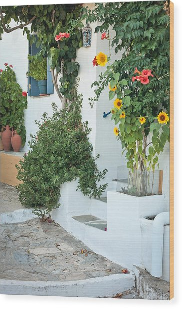 Greek House Wood Print