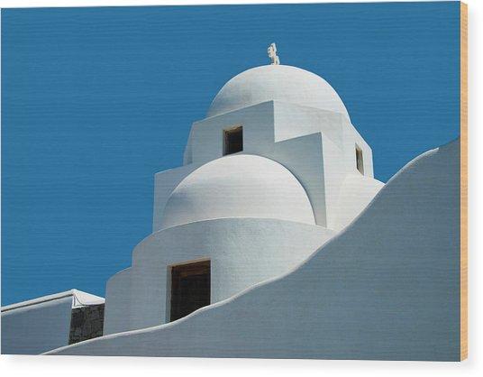 Greek Orthdox Church In Mykonos Wood Print by Ed Freeman