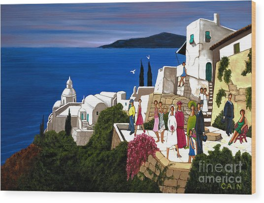 Greek Wedding Wood Print