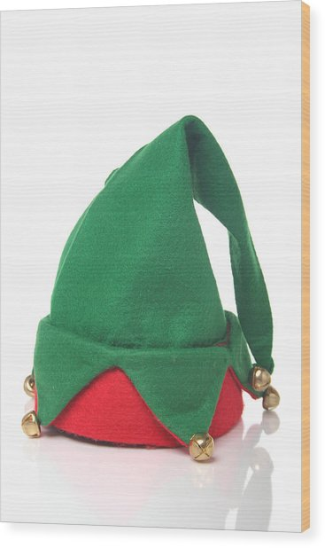 Green And Red Elf Hat With Bells With A White Background Wood Print by Sadeugra
