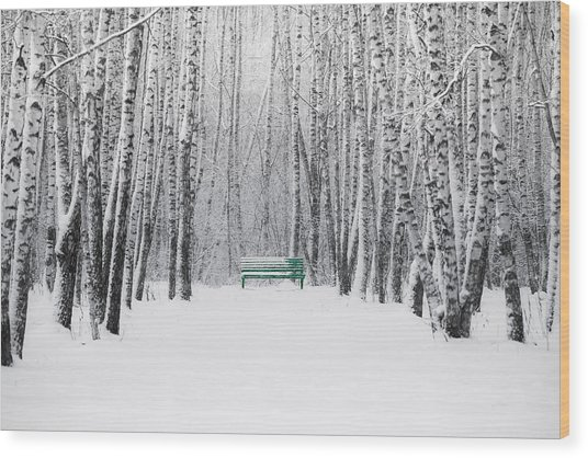 Green Bench Wood Print