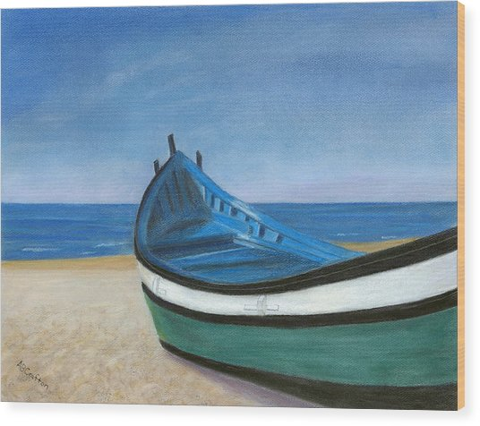 Green Boat Blue Skies Wood Print