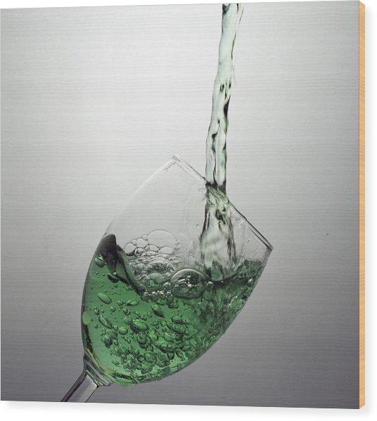 Green Bubbly Wood Print by John Hoey