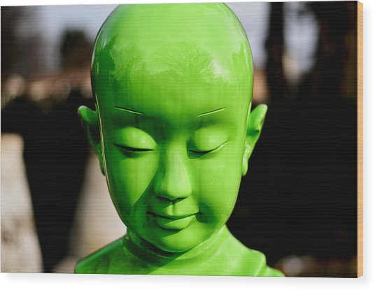 Green Buddha Wood Print
