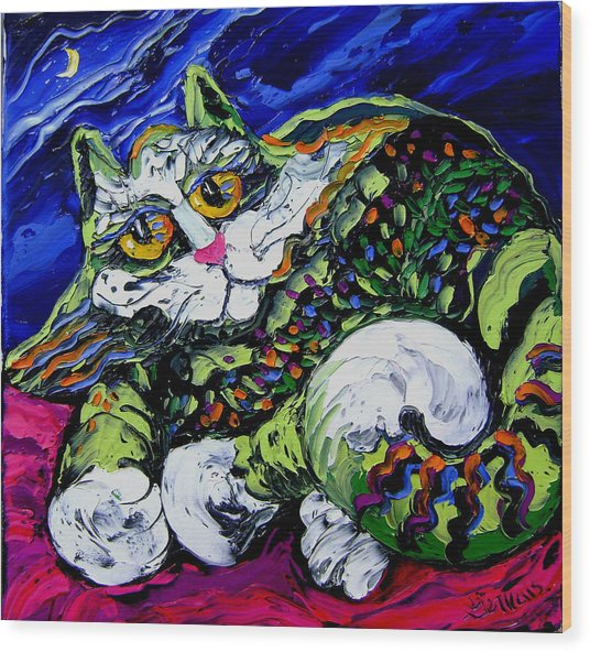 Green Cat Wood Print by Isabelle Gervais