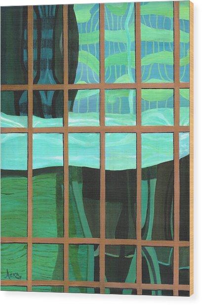 Green Central Wood Print by Alika Kumar