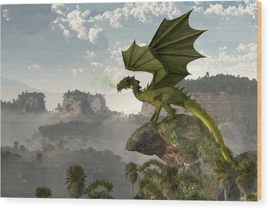 Green Dragon Wood Print