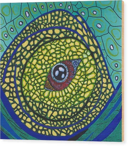 Green Eye Wood Print by Patrick OLeary