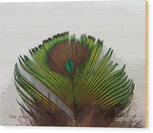 Green Feather Tip Wood Print