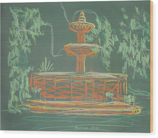 Green Fountain Wood Print by Marcia Meade
