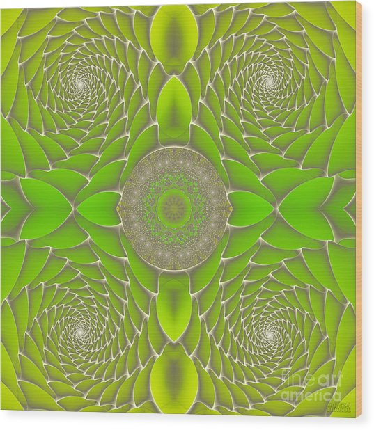 Green Fractal Jewel Wood Print