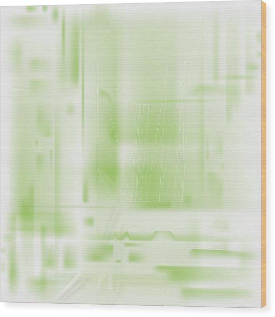 Green Ghost City Wood Print