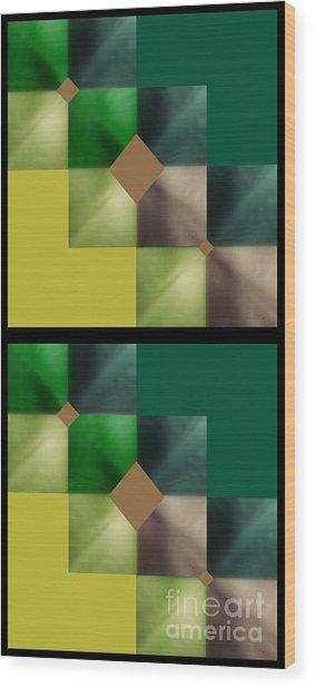 Green Glow Check Wood Print