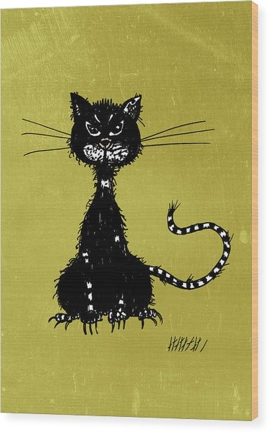 Green Grunge Evil Black Cat Wood Print
