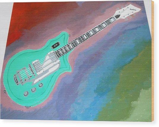 Green Guitar Wood Print