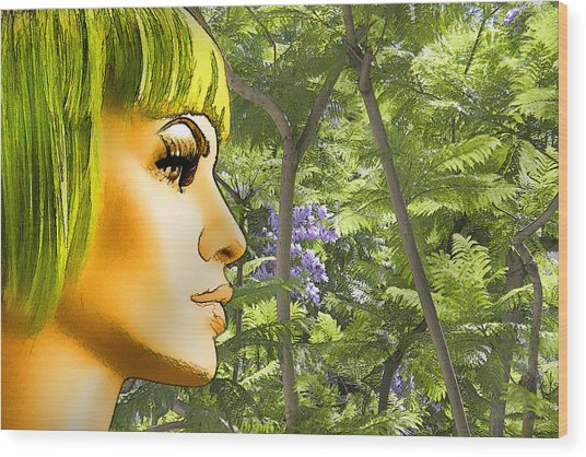Green Hair And Jacaranda  Wood Print