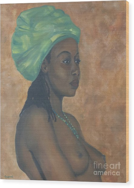 Green Headwrap Wood Print