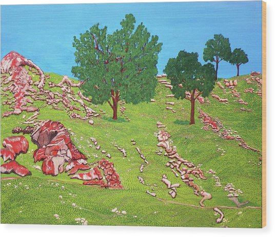 Green Hillside Wood Print