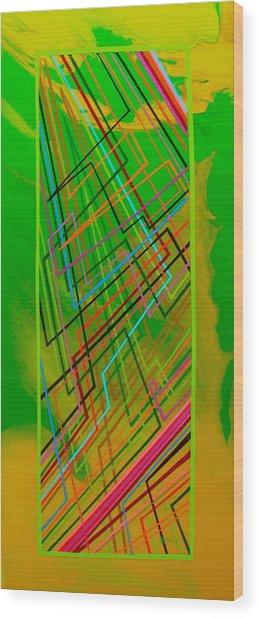 Green Lightning Wood Print