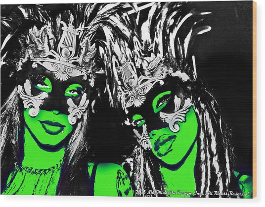 Green Mask  Wood Print by Ley Clarie Gray