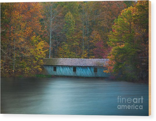 Wood Print featuring the photograph Green Mountain Covered Bridge Huntsville Alabama by T Lowry Wilson