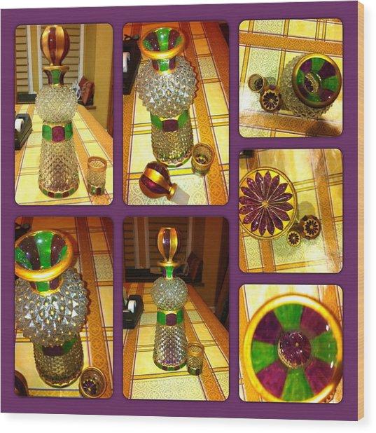 Green N' Purple Wood Print
