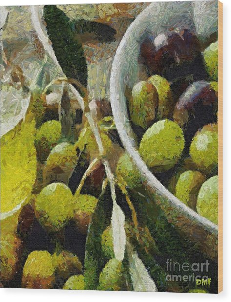 Green Olives Wood Print