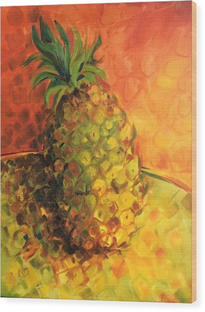 Green Orange Pineapple Wood Print
