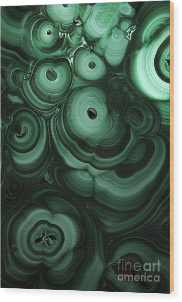 Green Patterns Of Malachite Wood Print