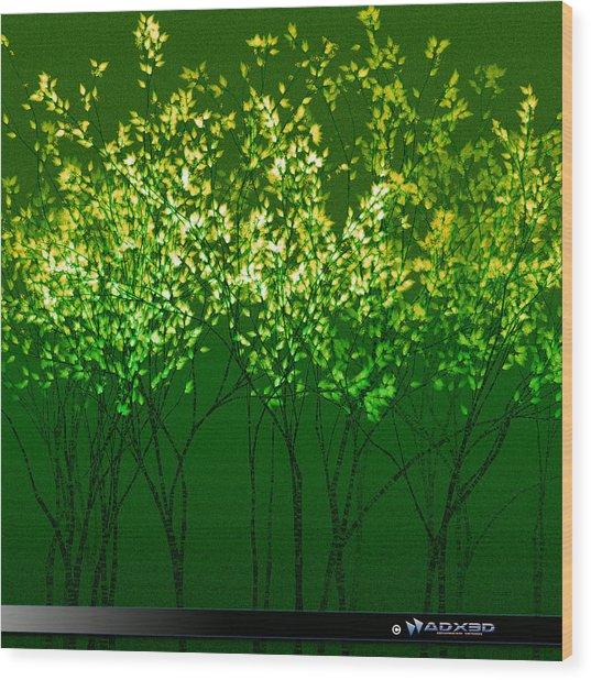 Green Print Wood Print