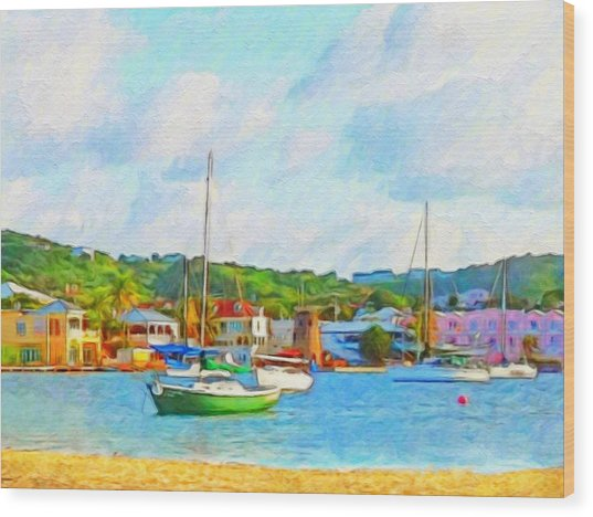 Green Sailboat On Mooring - Horizontal 1 Wood Print
