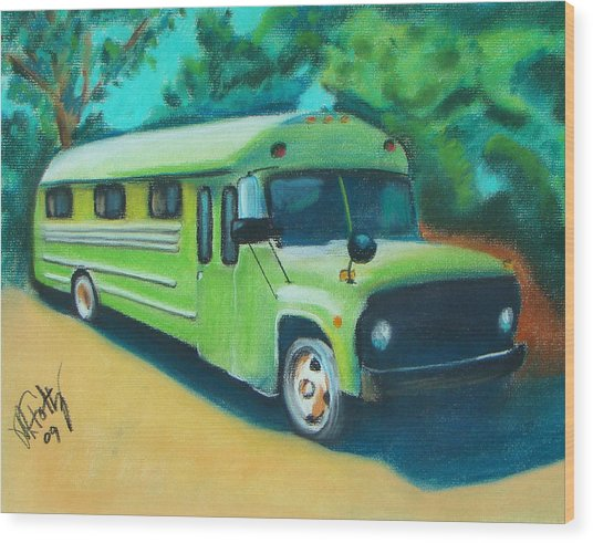 Green School Bus Wood Print