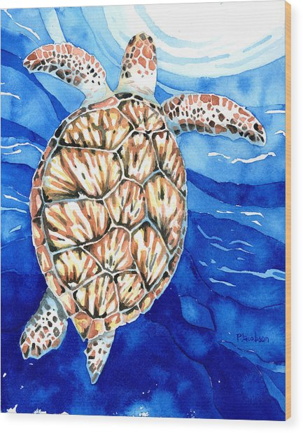 Green Sea Turtle Surfacing Wood Print