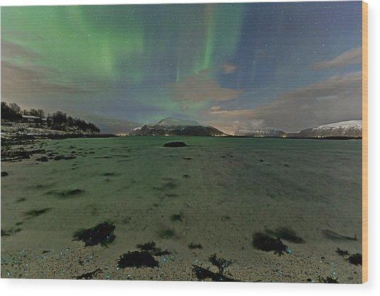 Green Sky Over The Beach Wood Print by Frank Olsen