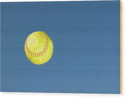 Green Softball Wood Print