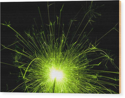 Green Sparkle Wood Print