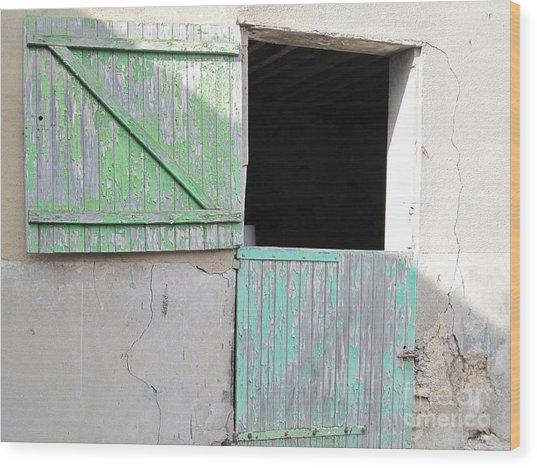 Green Stable Door Wood Print